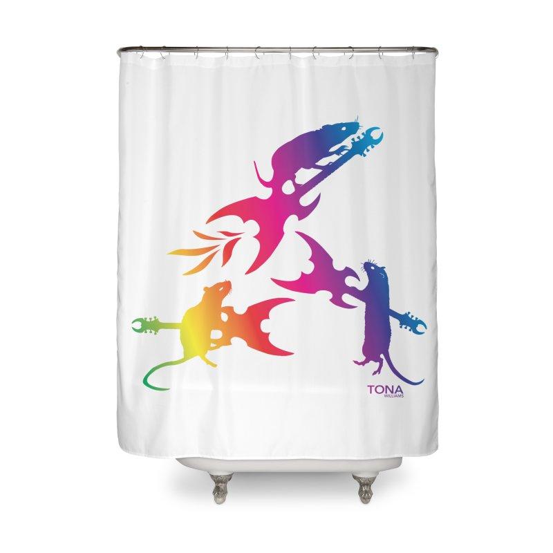 Rainbow Metal Rats Home Shower Curtain by Anapalana by Tona Williams Artist Shop
