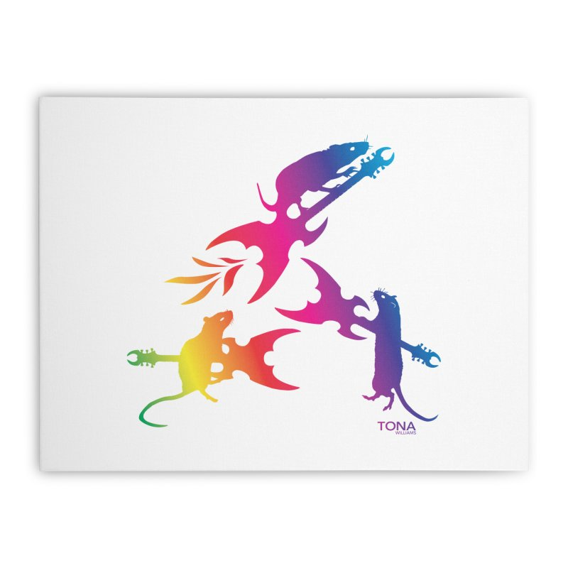 Rainbow Metal Rats Home Stretched Canvas by Anapalana by Tona Williams Artist Shop