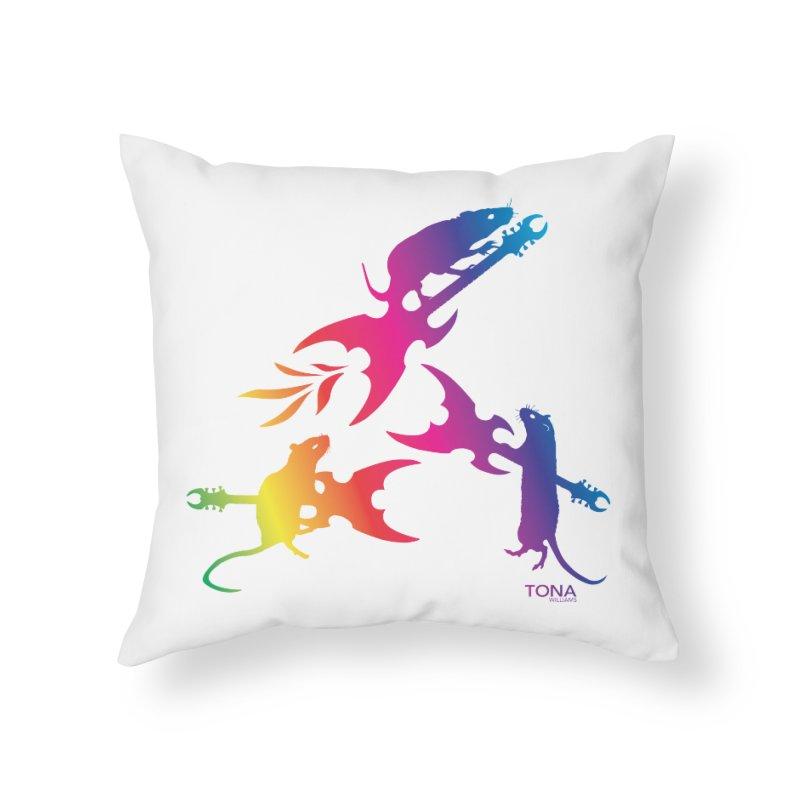 Rainbow Metal Rats Home Throw Pillow by Anapalana by Tona Williams Artist Shop