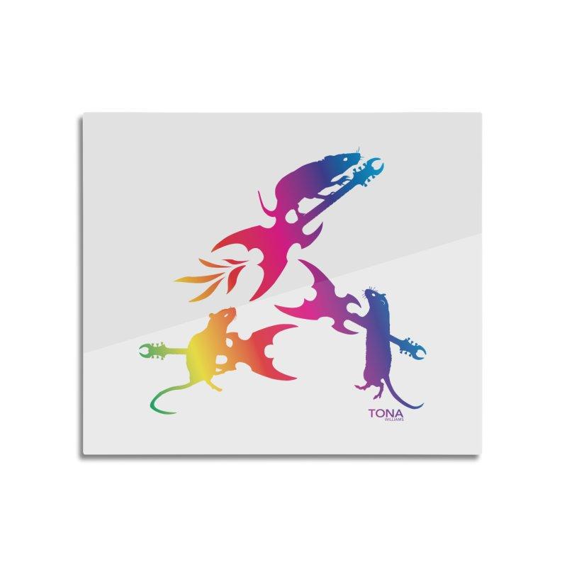 Rainbow Metal Rats Home Mounted Aluminum Print by Anapalana by Tona Williams Artist Shop