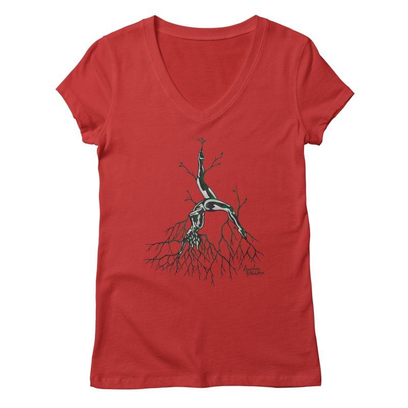 Tree Dancer 3 - Earth Tones Women's Regular V-Neck by Anapalana by Tona Williams Artist Shop