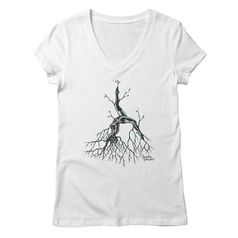 Tree Dancer 3 - Earth Tones Women's V-Neck by Anapalana by Tona Williams Artist Shop