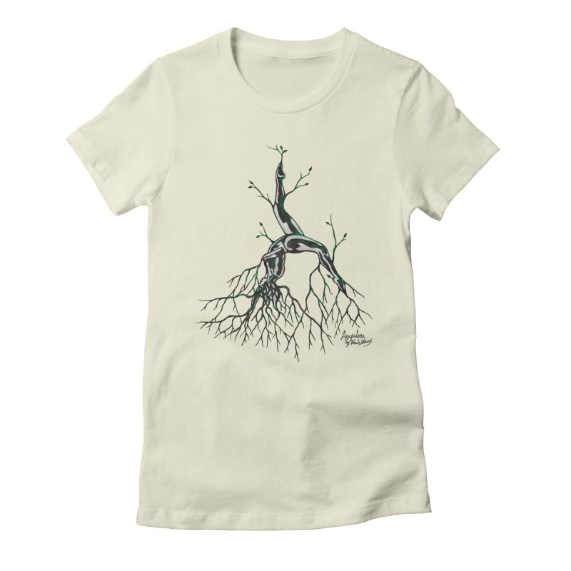 Tree Dancer 3 - Earth Tones in Women's Fitted T-Shirt Natural by Anapalana by Tona Williams Artist Shop