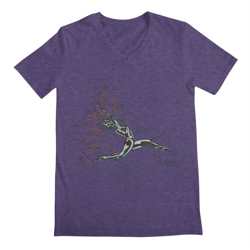 Tree Dancer 4 - Earth and Fire Men's Regular V-Neck by Anapalana by Tona Williams Artist Shop