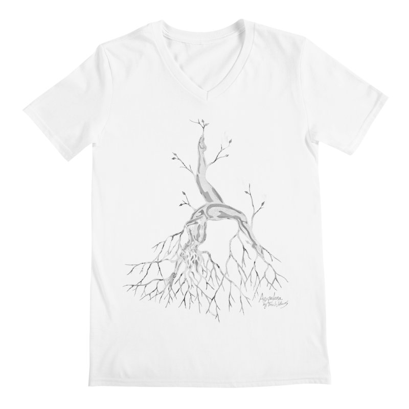 Tree Dancer 3 - White Tones Men's Regular V-Neck by Anapalana by Tona Williams Artist Shop