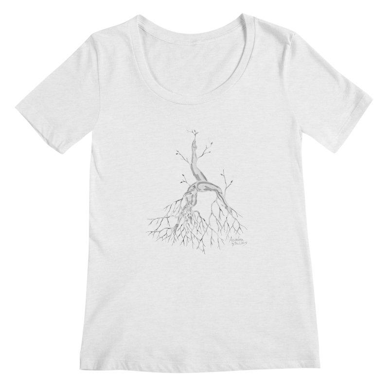 Tree Dancer 3 - White Tones Women's Scoopneck by Anapalana by Tona Williams Artist Shop