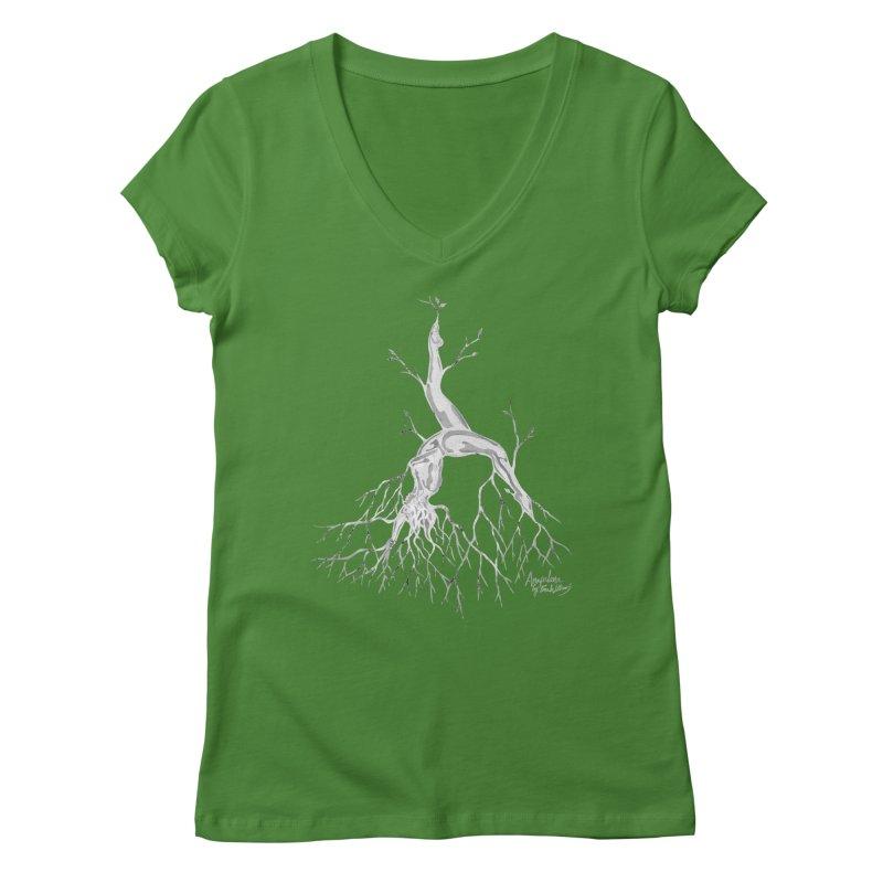 Tree Dancer 3 - White Tones Women's V-Neck by Anapalana by Tona Williams Artist Shop