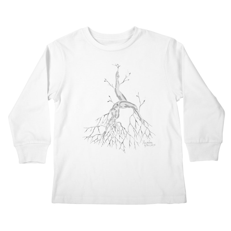 Tree Dancer 3 - White Tones Kids Longsleeve T-Shirt by Anapalana by Tona Williams Artist Shop