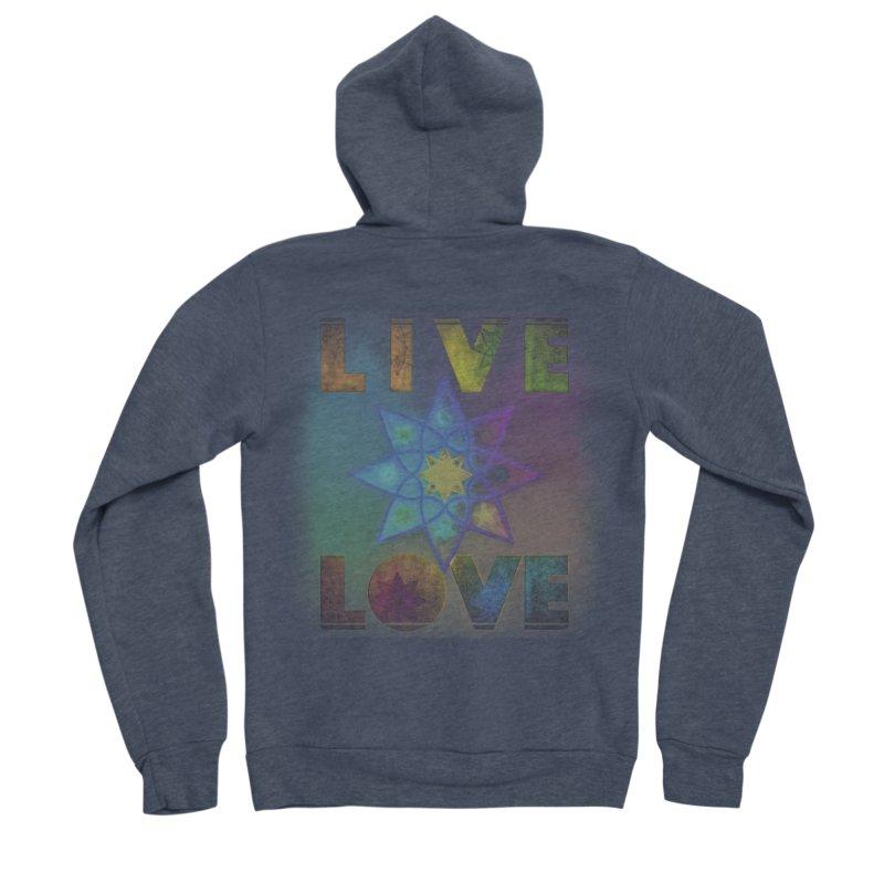 Live Love Octagram Men's Sponge Fleece Zip-Up Hoody by An Authentic Piece