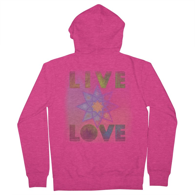 Live Love Octagram Women's French Terry Zip-Up Hoody by An Authentic Piece