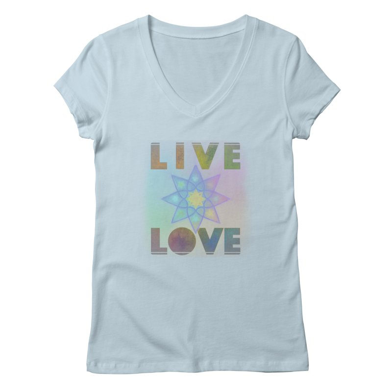 Live Love Octagram Women's Regular V-Neck by An Authentic Piece
