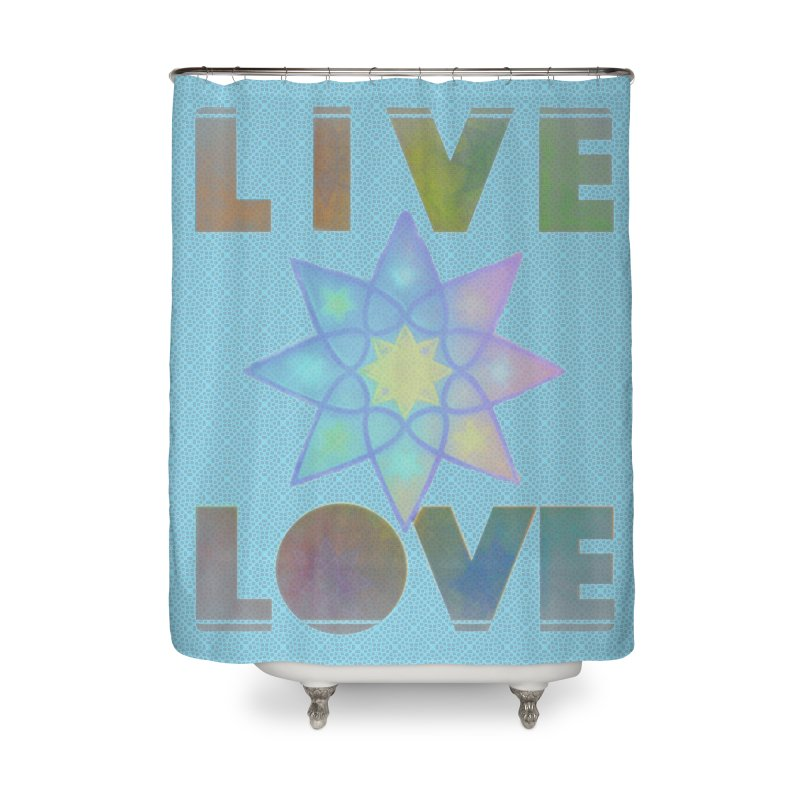 Live Love Octagram Home Shower Curtain by An Authentic Piece