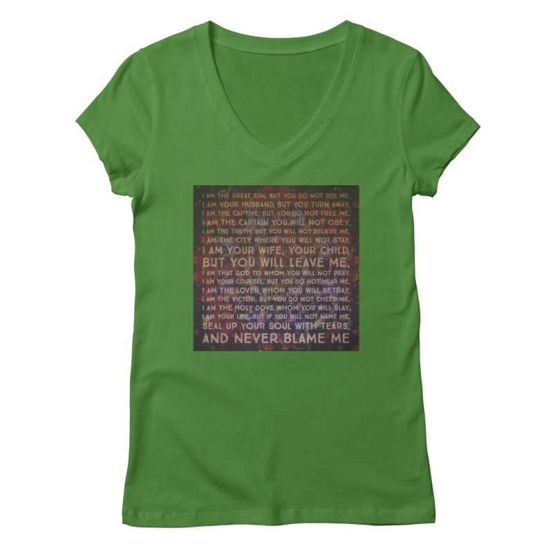 Never Blame Me Women's Regular V-Neck by An Authentic Piece