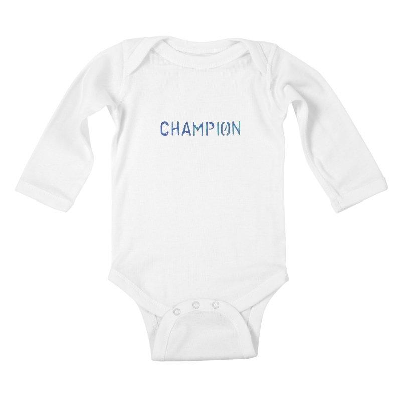 Ancient Champion Champion Logo Blue Kids Baby Longsleeve Bodysuit by Dress like an Ancient Champion