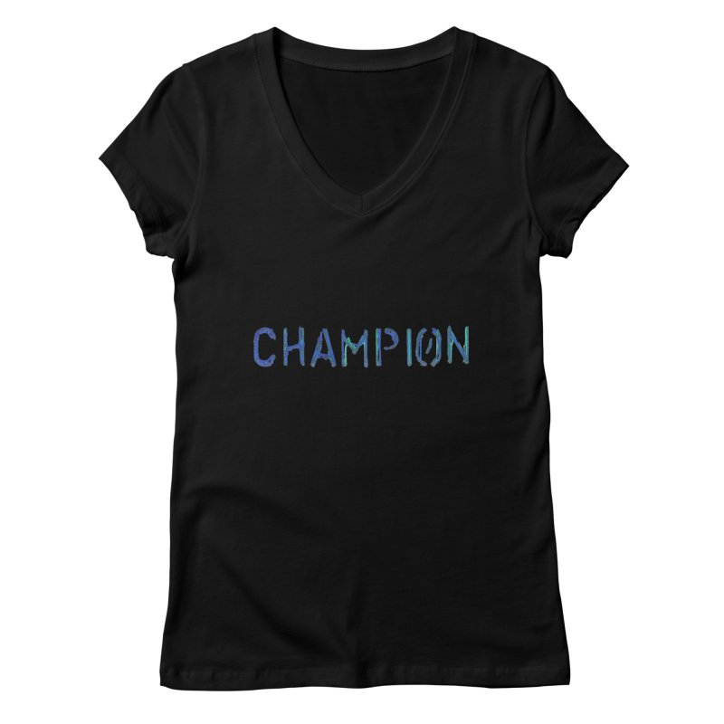 Ancient Champion Champion Logo Blue Women's V-Neck by Dress like an Ancient Champion