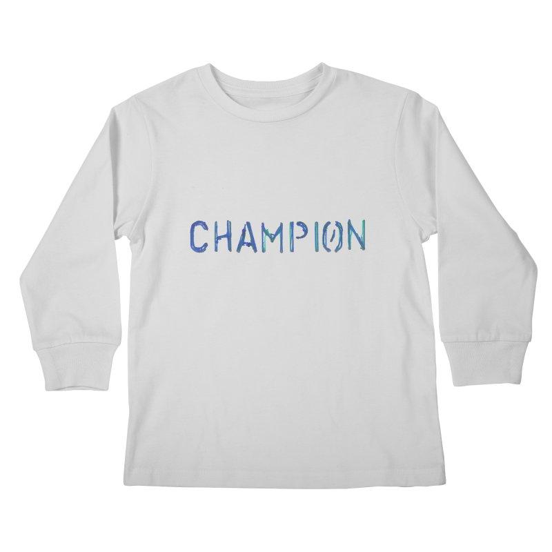Ancient Champion Champion Logo Blue Kids Longsleeve T-Shirt by Dress like an Ancient Champion