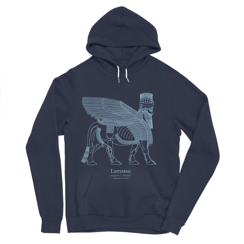 Lamassu (Oxford Blue) Men's Sponge Fleece Pullover Hoody by Ancient History Encyclopedia