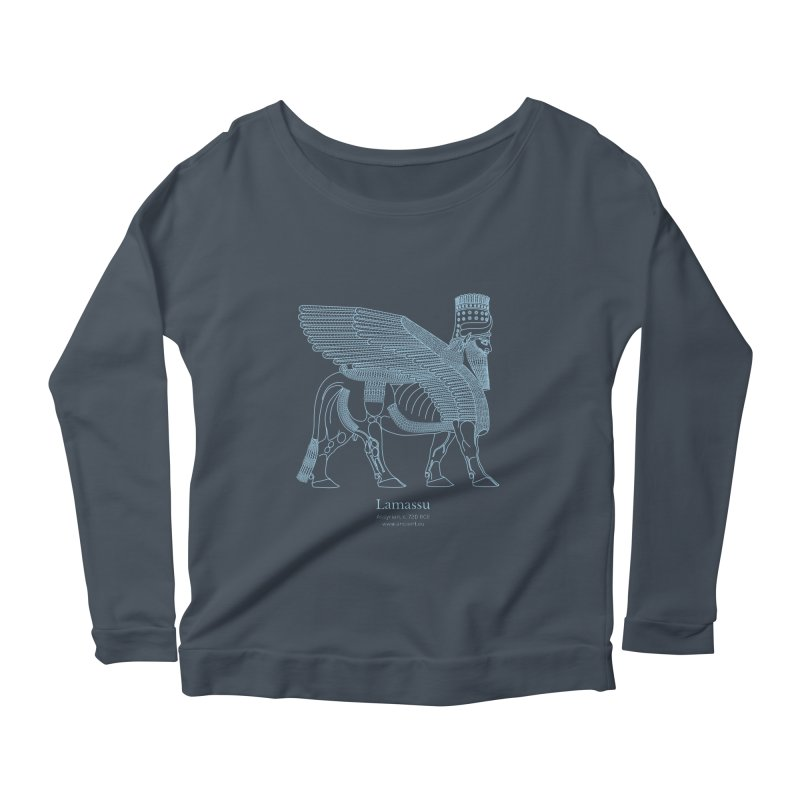 Lamassu (Oxford Blue) Women's Scoop Neck Longsleeve T-Shirt by Ancient History Encyclopedia