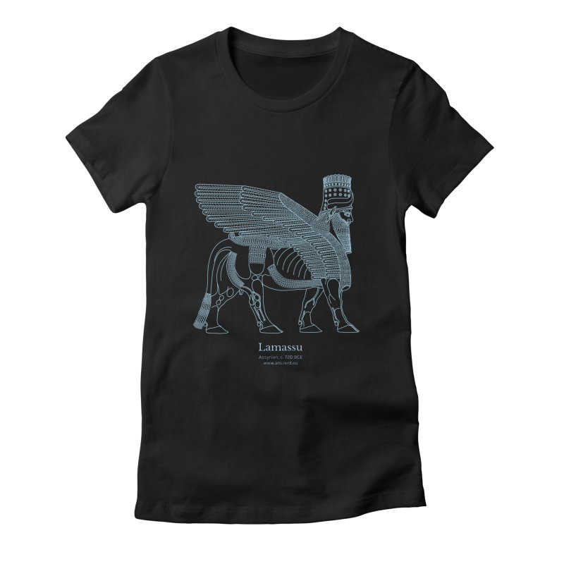 Lamassu (Oxford Blue) Women's Fitted T-Shirt by Ancient History Encyclopedia