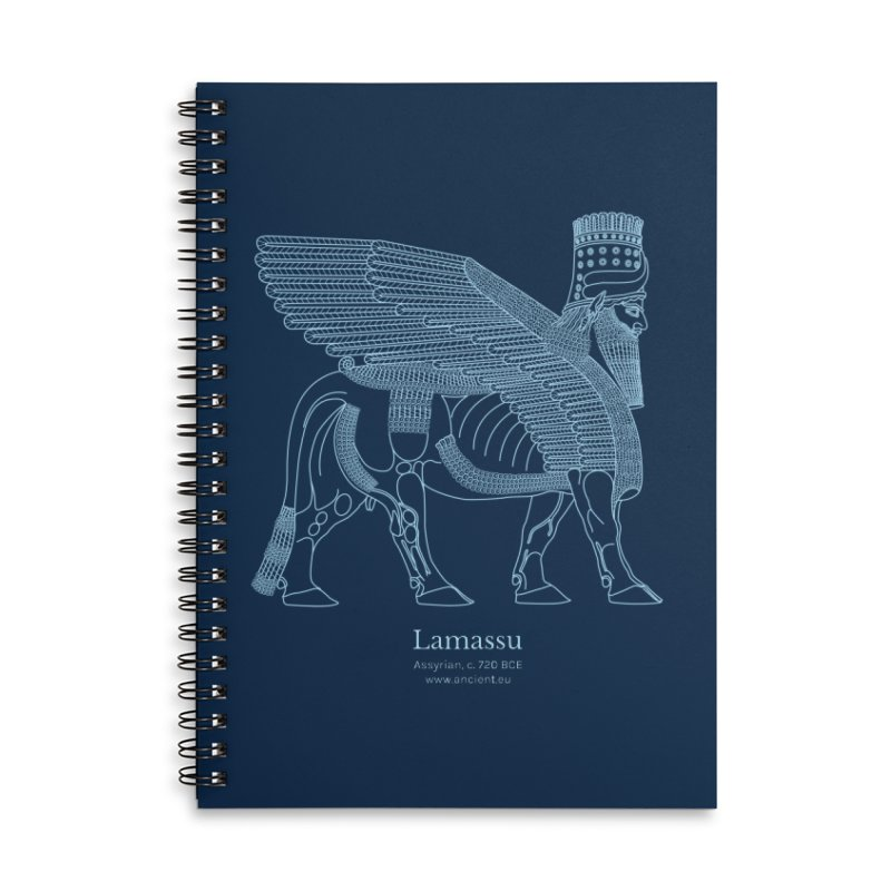 Lamassu (Oxford Blue) Accessories Lined Spiral Notebook by Ancient History Encyclopedia