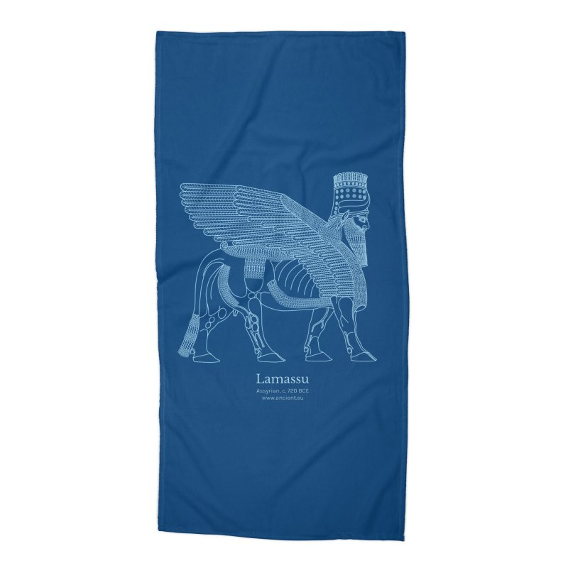 Lamassu (Dark Cerulean) Accessories Beach Towel by Ancient History Encyclopedia