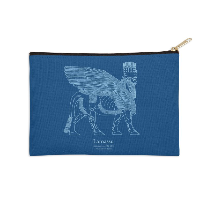 Lamassu (Dark Cerulean) Accessories Zip Pouch by Ancient History Encyclopedia