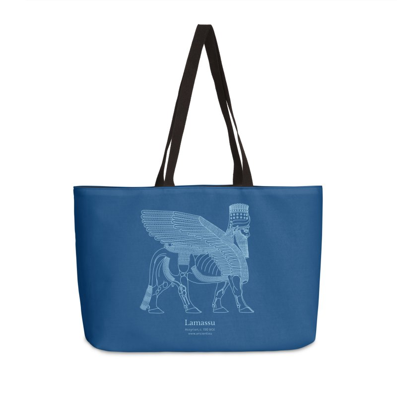 Lamassu (Dark Cerulean) Accessories Weekender Bag Bag by Ancient History Encyclopedia