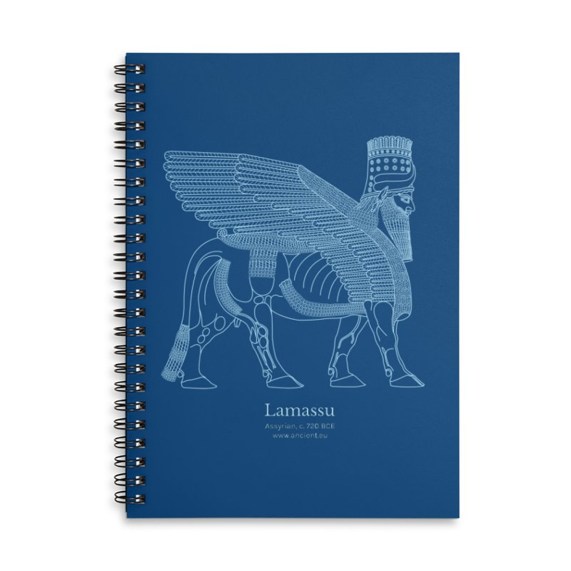 Lamassu (Dark Cerulean) Accessories Lined Spiral Notebook by Ancient History Encyclopedia
