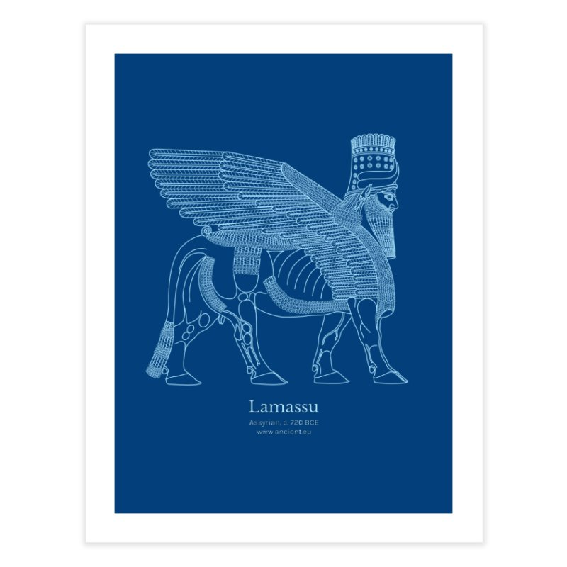 Lamassu (Dark Cerulean) Home Fine Art Print by Ancient History Encyclopedia