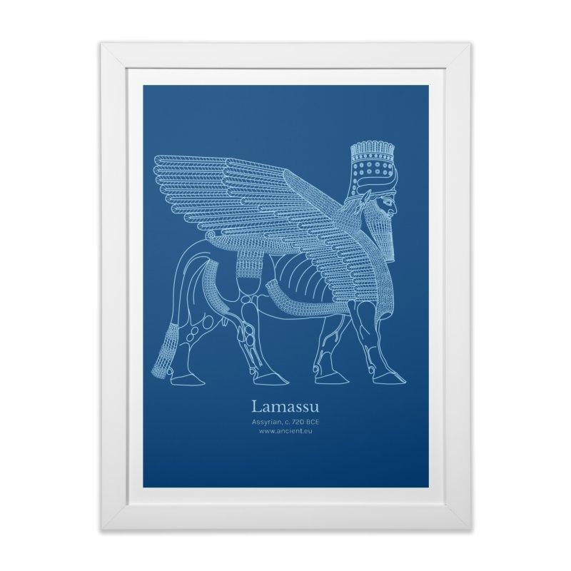 Lamassu (Dark Cerulean) Home Framed Fine Art Print by Ancient History Encyclopedia