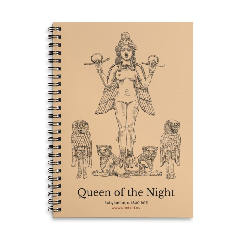 Queen of the Night (Peach) Accessories Lined Spiral Notebook by Ancient History Encyclopedia