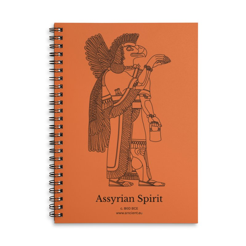 Assyrian Spirit (Deep Carrot Orange) Accessories Lined Spiral Notebook by Ancient History Encyclopedia