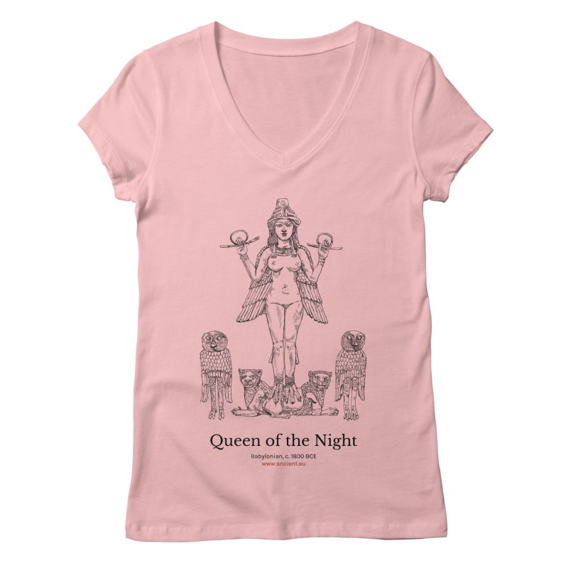 Queen of the Night Clothing in Women's Regular V-Neck Pink by Ancient History Encyclopedia