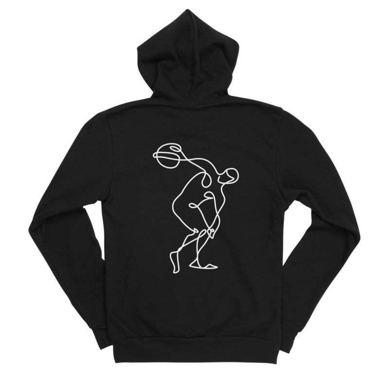 Greek Discus Thrower Clothing (white) Men's Sponge Fleece Zip-Up Hoody by Ancient History Encyclopedia