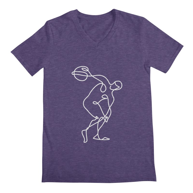 Greek Discus Thrower Clothing (white) Men's Regular V-Neck by Ancient History Encyclopedia