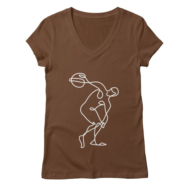 Greek Discus Thrower Clothing (white) Women's Regular V-Neck by Ancient History Encyclopedia