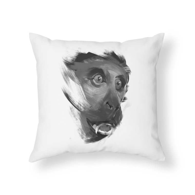 Monkey Home Throw Pillow by andias's Artist Shop