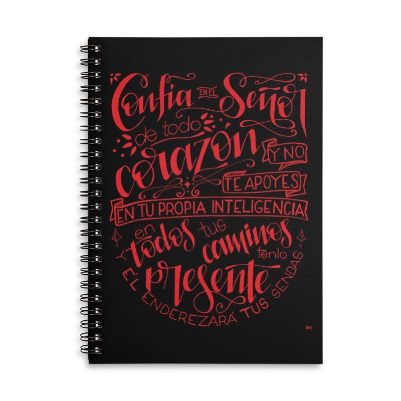 Confía en el Señor de todo corazón Accessories Lined Spiral Notebook by Andrea Garrido V - Shop