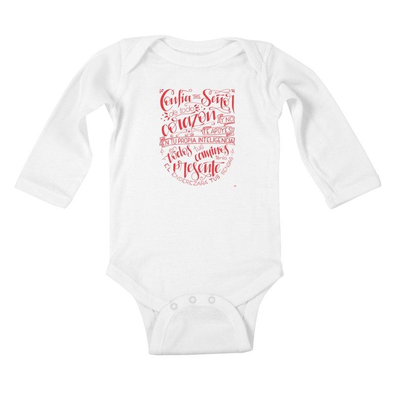 Confía en el Señor de todo corazón Kids Baby Longsleeve Bodysuit by Andrea Garrido V - Shop