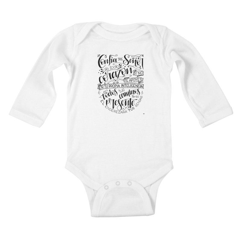 Confía en el Señor - negro Kids Baby Longsleeve Bodysuit by Andrea Garrido V - Shop