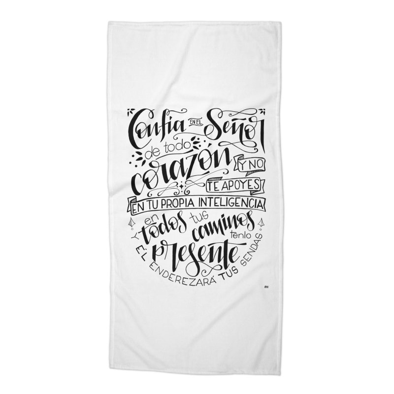 Confía en el Señor - negro Accessories Beach Towel by Andrea Garrido V - Shop