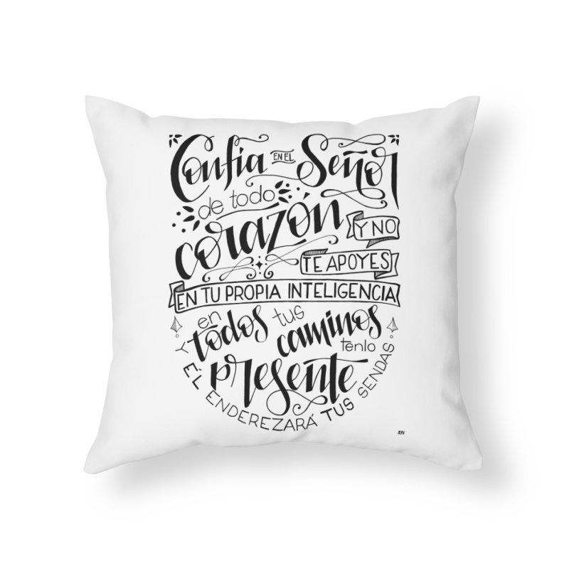 Confía en el Señor - negro Home Throw Pillow by Andrea Garrido V - Shop