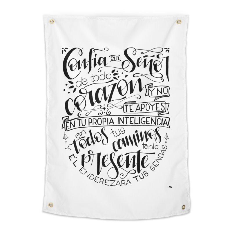 Confía en el Señor - negro Home Tapestry by Andrea Garrido V - Shop