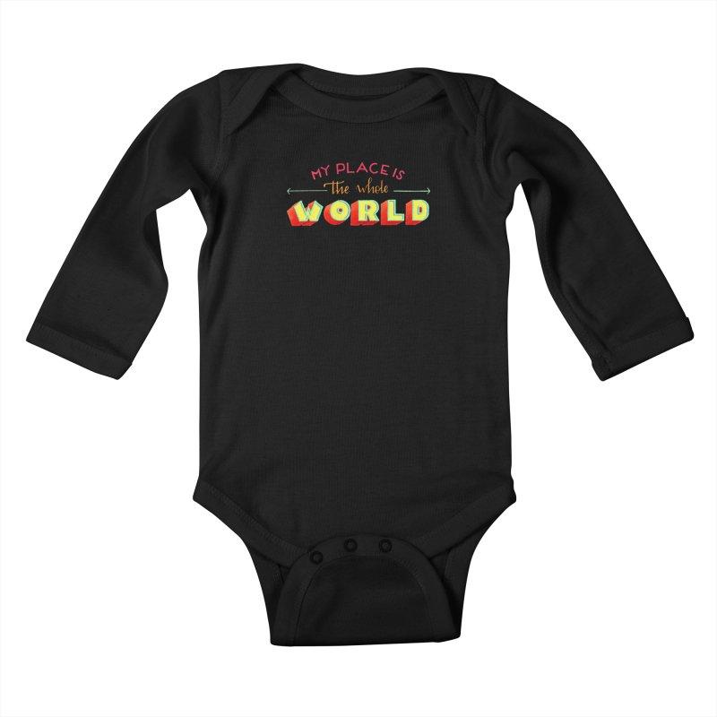The whole world Kids Baby Longsleeve Bodysuit by Andrea Garrido V - Shop