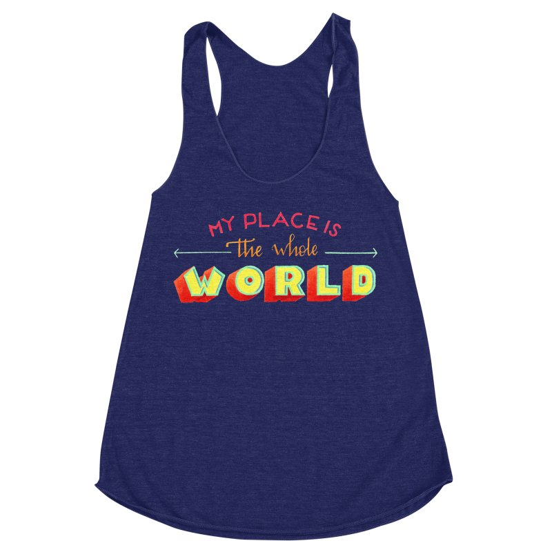The whole world Women's Racerback Triblend Tank by Andrea Garrido V - Shop