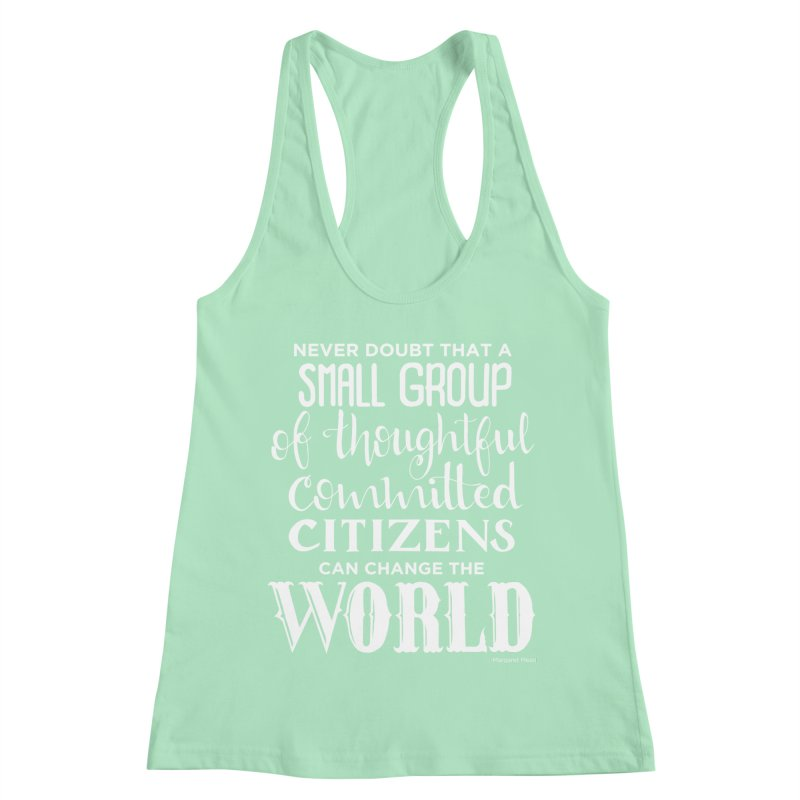 Change the world - white version Women's Racerback Tank by Andrea Garrido V - Shop