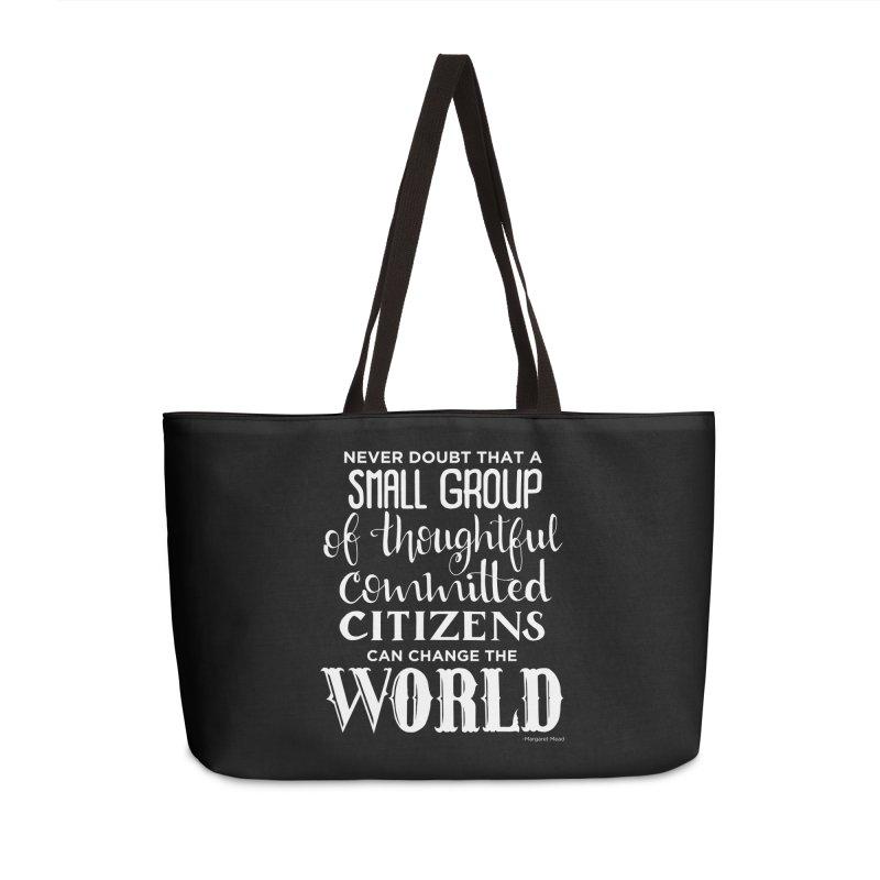 Change the world - white version Accessories Weekender Bag Bag by Andrea Garrido V - Shop