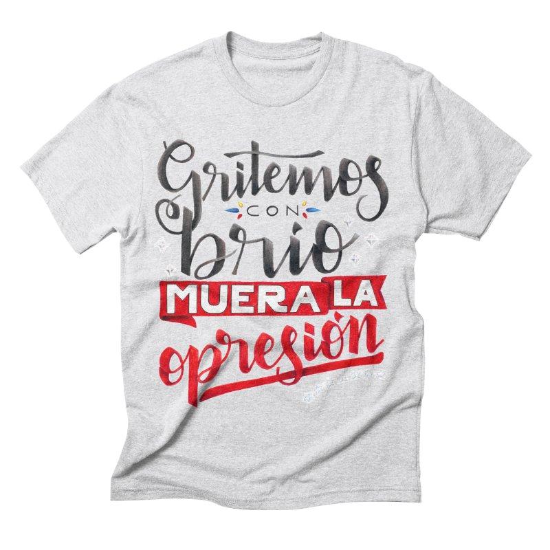 Gritemos con brío muera la opresión Men's Triblend T-Shirt by Andrea Garrido V - Shop