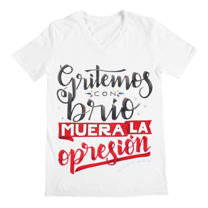 Gritemos con brío muera la opresión Men's Regular V-Neck by Andrea Garrido V - Shop