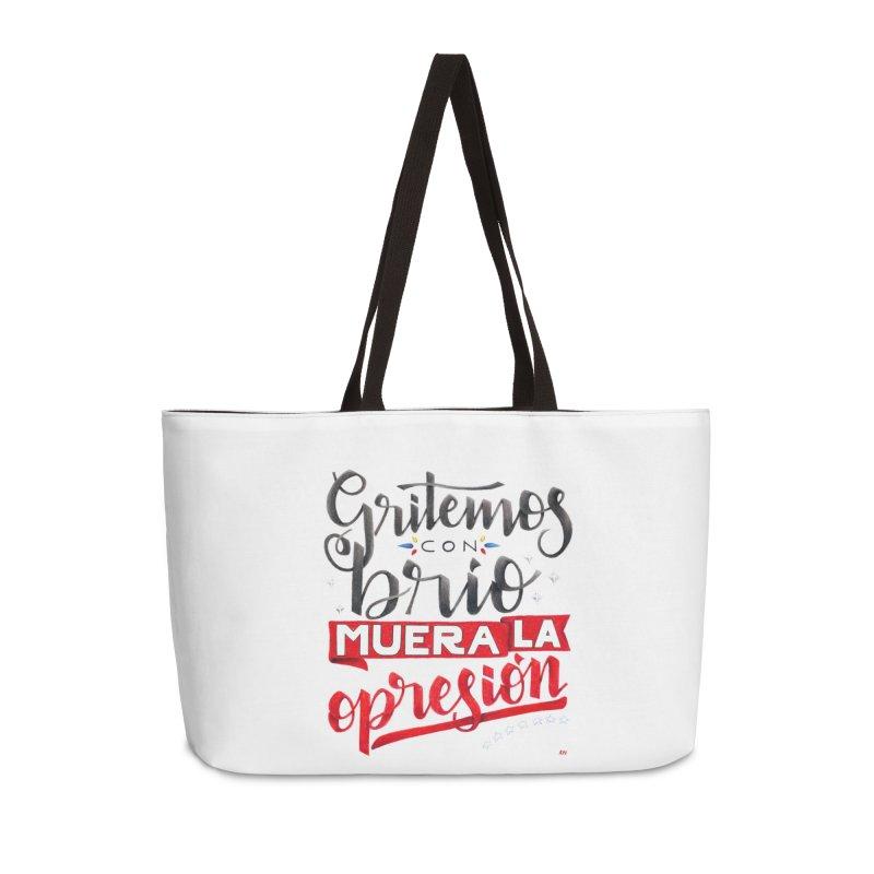 Gritemos con brío muera la opresión Accessories Weekender Bag Bag by Andrea Garrido V - Shop